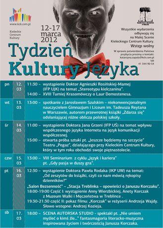 Kieleckie Centrum Kultury Kultura XX Tydzień Kultury Języka