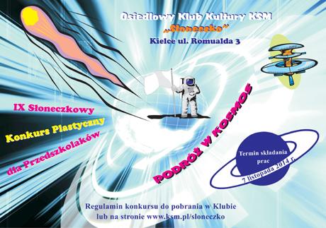 Słoneczko Sztuki plastyczne Podróż w kosmos - konkurs dla przedszkolaków