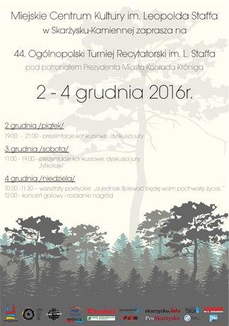 Miejskie Centrum Kultury, Skarżysko-Kamienna Literatura Ogólnopolski Turniej Recytatorski im. L. Staffa