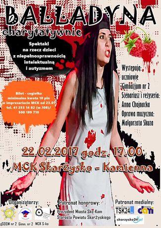 Miejskie Centrum Kultury, Skarżysko-Kamienna Teatr ''Balladyna'' charytatywnie