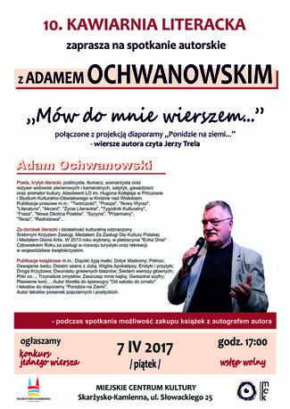Miejskie Centrum Kultury, Skarżysko-Kamienna Literatura Spotkanie z Adamem Ochwanowskim / Kawiarnia Literacka