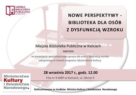 Miejska Biblioteka Publiczna Kultura Nowe perspektywy - Biblioteka dla osób z dysfunkcją wzroku