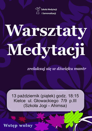 zobacz info Kultura Warsztaty medytacji