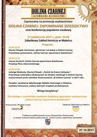 Zabytkowy Zakład Hutniczy w Maleńcu Kultura Dolina Czarnej: zapomniane Dziedzictwo - promocja wydawnictwa
