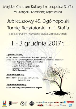 Miejskie Centrum Kultury, Skarżysko-Kamienna Kultura 45. Ogólnopolski Turniej Recytatorski im L. Staffa