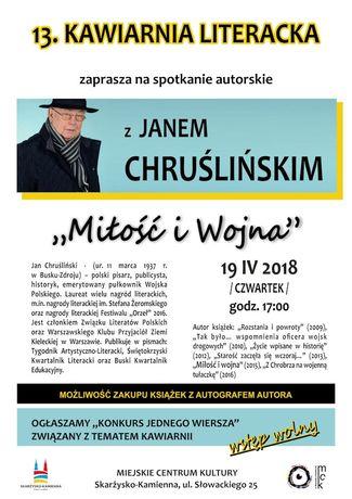 Miejskie Centrum Kultury, Skarżysko-Kamienna Literatura Kawiarnia Literacka z Janem Chruślińskim